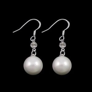 South Sea Shell Pearl & CZ Ear Hook Earrings